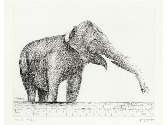 Henry Moore O.M., C.H. (British, 1898-1986) Elephant, from 'Animals in the Zoo' series Etching, 1981, on Arches, signed, numbered 49/65 and inscribed 'PL IV' in pencil, printed by James Collyer and John Crossley of JC Editions, London, with their blindstamp, published by Raymond Spencer, with margins, 210 x 275mm (8 3/4 x 10 7/8in (PL)