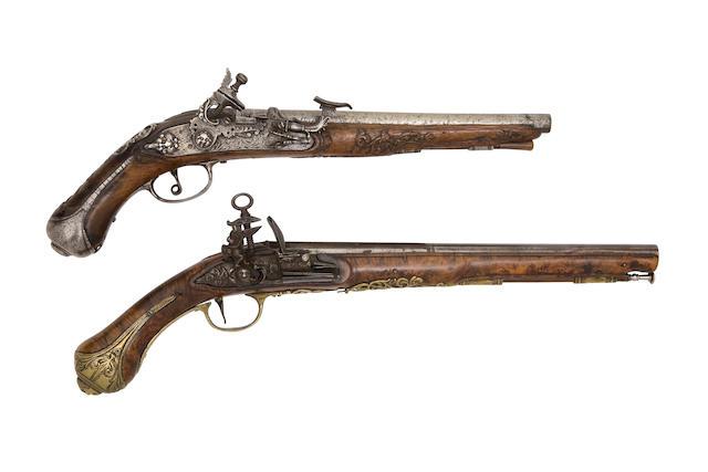 An Italian 25-Bore Roman-Lock Brass-Mounted Belt Pistol