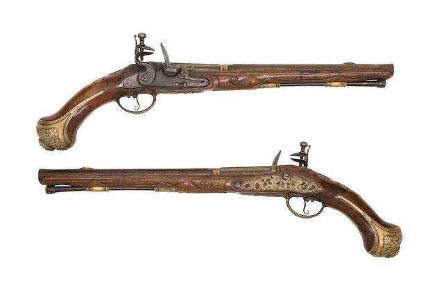 A Pair of Liège 20-Bore Flintlock Holster Pistols