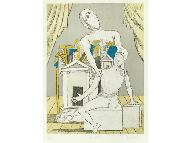 Giorgio de Chirico (Italian, 1888-1978) Oreste e Pilade (1st version) Etching and aquatint printed in colours, 1970, on wove, signed, titled and numbered III/XXV, aside the numbered edition of 90 in Arabic numerals, printed and published by Alberto Caprini Stampatore, Rome, with the artist's and printer's/publisher's blindstamp, with full margins, 697 x 498mm (27 1/2 x 19 5/8in)(SH)(unframed)