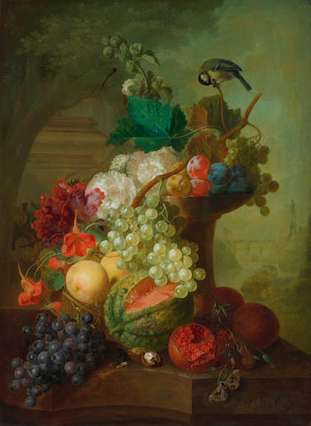 Jan van Os (Middelharnis 1744-1808 The Hague) Grapes, peaches, pomegranates, a melon and other fruit on a stone ledge with flowers