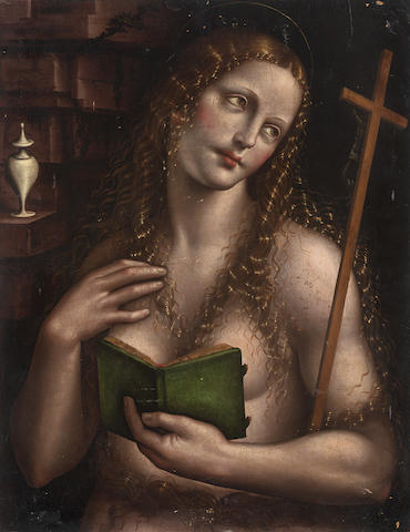 Studio of Giovanni Pietro Rizzoli, called il Giampetrino (active Milan, circa 1500-circa 1549) The Penitent Magdalen unframed (to be sold with another of the same hand depicting Christ carrying the Cross, oil on panel, 69 x 53.7 cm. (2))