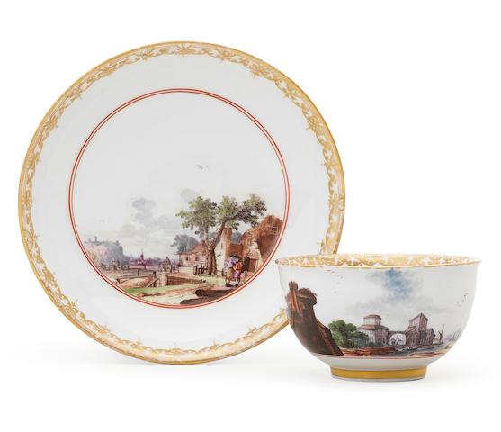 A Meissen teabowl and saucer Circa 1740