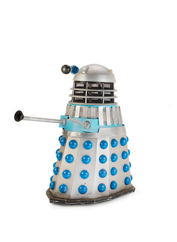Doctor Who: a full-size silver coloured Dalek ('Mk 3', 1965-1969) constructed for use in various BBCTV episodes, screen-used 1960's version constructed circa 1990,