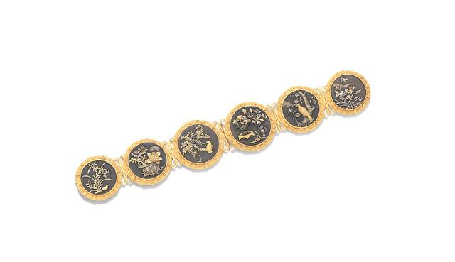 A copper and gold 'Shakudo' bracelet, probably English,
