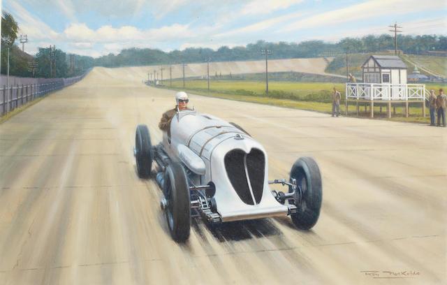 Roy Nockolds (1911-1980), 'John Cobb in the Napier Railton at Brooklands',   ((3))