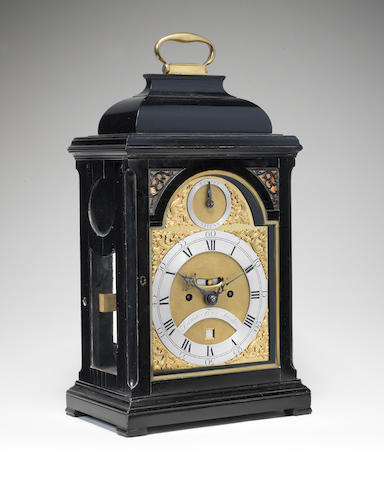 A mid 18th century ebonised table clock  Daniel Fenn, London