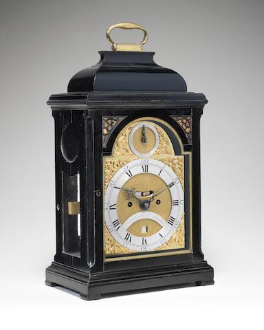 A mid 18th century ebonised table clock  Daniel Fenn, London