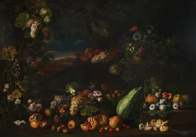 Attributed to Giovanni Battista Ruoppolo (Naples 1629-1693) Pomegranates, figs, grapes and other fruit on a forest floor