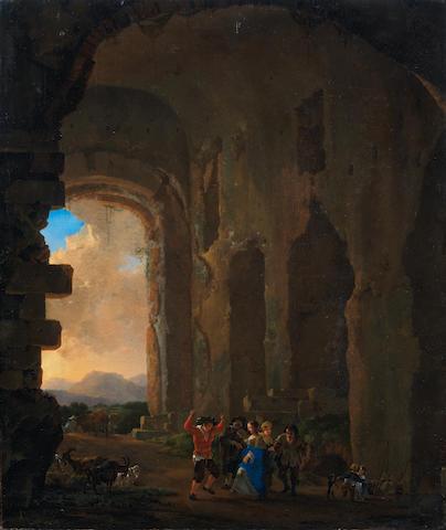 Jan Asselijn (Dieppe circa 1610-1652 Amsterdam) Peasants merrymaking among ruins, an Italianate landscape beyond
