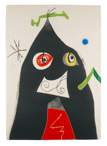 Joan Miró (Spanish, 1893-1983) Plate 1, from Quatre Colors Aparien el Món Etching and aquatint in colours, 1975, on Arches wove paper, signed and numbered 35/50 in pencil, printed by Joan Barbarà, published by Gustavo Gili, Barcelona, the full sheet, with deckle edges at left and right, authenticated by Rosa Maria Malet in pencil verso, Fundació Joan Miró, Barcelona, in very good conditionSheet 900 x 635mm.