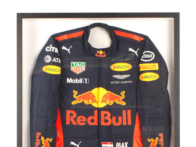 A set of signed Max Verstappen 2017 Formula 1 season Red Bull Racing race overalls,  Offered for sale on behalf of Wings for Life,  ((2))