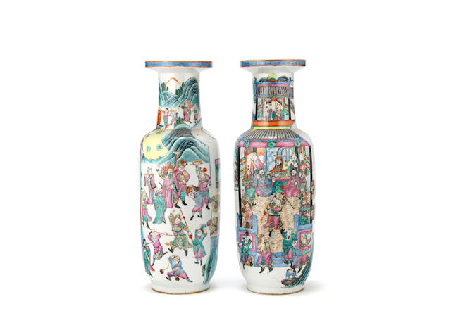 A large pair of Chinese famille rose rouleau vases 19th century (2)