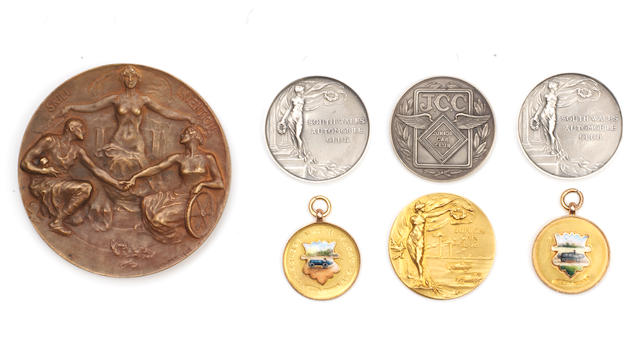 Seven 1920s medals awarded for AC Cars race achievements including one awarded to S.F.Edge,   ((7))