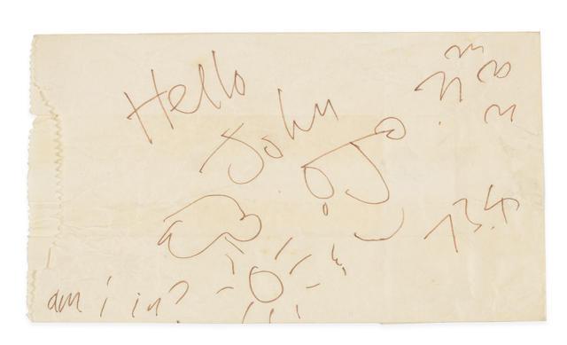 John Lennon: A sketch on a paper bag,  1973,