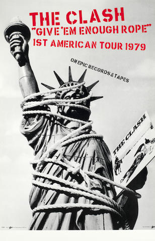 The Clash: A promotional poster for their 'Give 'Em Enough Rope' (aka 'Pearl Harbour') debut American Tour,  1979,