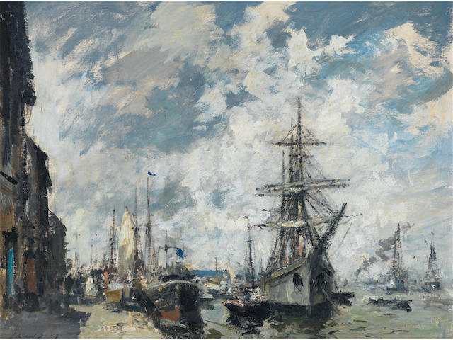 Edward Seago, RWS (British, 1910-1974) The Barquentine Gazela at Cacilhas Portugal