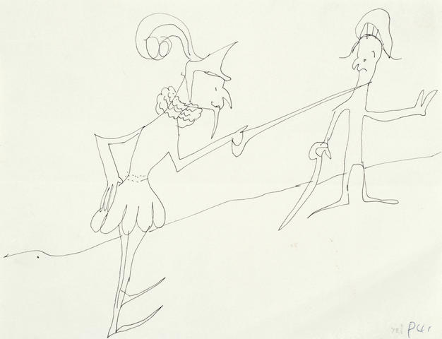 John Lennon: An original drawing, untitled, of two duelling swordsmen, 1964,