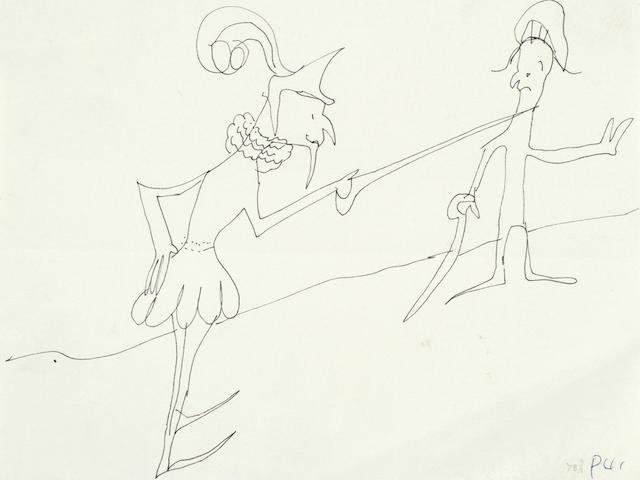 John Lennon: An original drawing, untitled, of two duelling swordsmen, 1964,