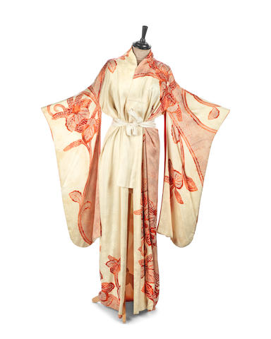 James Bond: An elegant screed-used floral kimono worn by Valerie Leon in Never Say Never Again, Warner Bros., 1983,