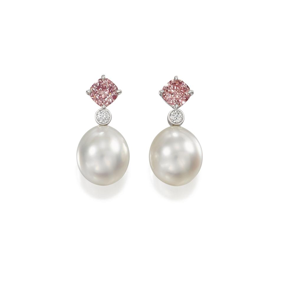 A pair of fancy-coloured diamond, diamond and cultured pearl earrings, by Cartier