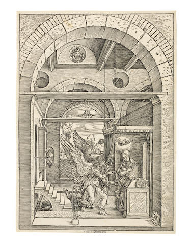 Albrecht Dürer (German, 1471-1528) The Annunciation, from The Life of the Virgin Woodcut, circa 1503, a fine Meder Ib impression before the text edition of 1511, printing with great clarity, on laid paper, watermark High Crown (M20), with small margins, a few pale fox spots, in good conditionBlock 298 x 211mm, Sheet 306 x 219mm. (unframed)