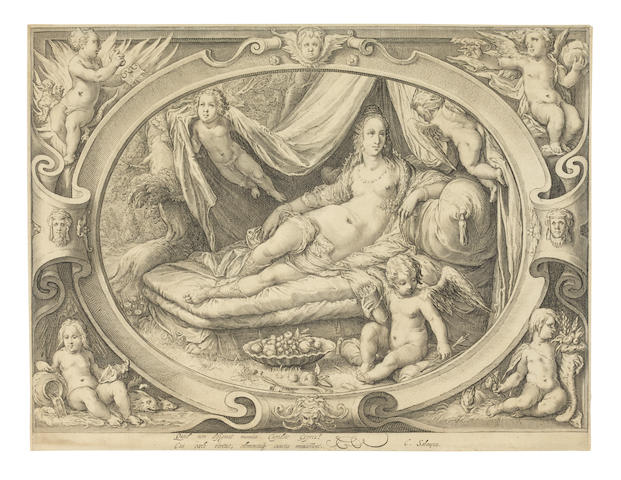 Jan Pietersz Saenredam (Dutch, 1565-1607) Venus with Amor reclining on a bed Engraving after Hendrick Goltzius, a fine impression of the first state (of four), with two lines of Latin verse by Schonaeus, on laid paper, with watermark Strasbourg Lily, trimmed inside the platemark, sheet 218 x 288mm; together with Hendrick Goltzius Portrait of Frederic II King of Denmark and Norway (H.188), the final second state with the address of G.Cornelij, on laid paper, with partial unidentified watermark, trimmed inside the platemark, sheet 236 x 161mm, generally in good condition (2 unframed)