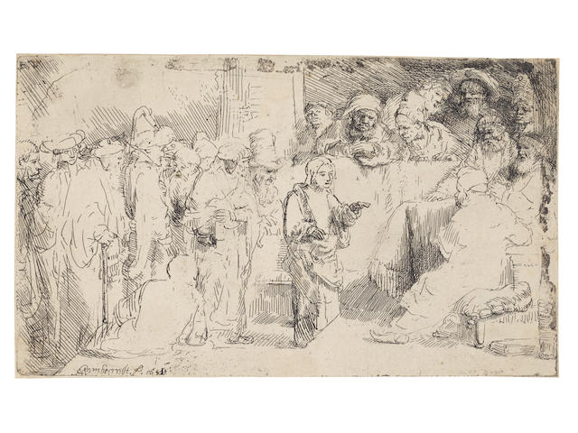 Rembrandt Harmensz. van Rijn (Dutch, 1606-1669) Christ disputing with the doctors: A Sketch Etching and drypoint, 1652, a fine impression but somewhat later of New Hollstein's first state (of two), with marks along the upper and right edges of the plate,  before the mezzotint rework, on laid paper, with watermark Seven Provinces, trimmed to the platemark, in very good conditionPlate 126 x 214mm. (unframed)