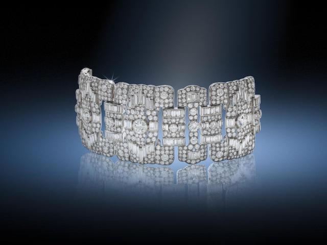 A diamond panel bracelet,