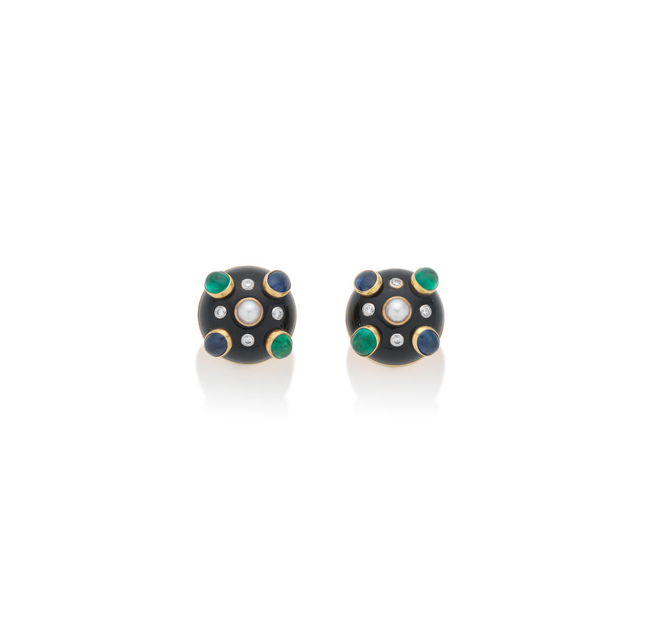 A black jade and gem-set cuff and earclip suite, by Verdura