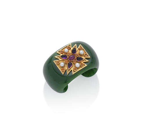 A nephrite and gem-set cuff,  by Verdura