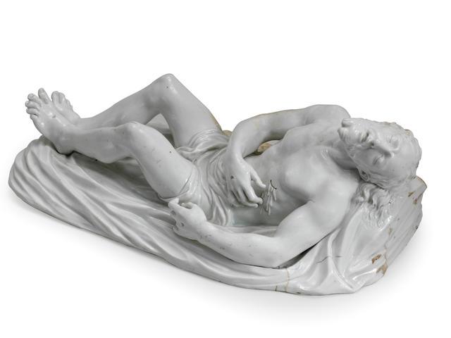 A very rare Doccia sculpture representing The Dead Christ, circa 1750