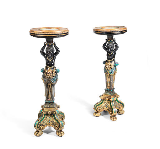 A pair of Italian polychrome and gilt gesso carved wood and malachite inset figural torchieres  probably early 20th century in the Baroque style (2)