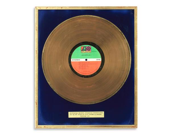Led Zeppelin: A 'Gold' sales award for the album Led Zeppelin II, 1970,