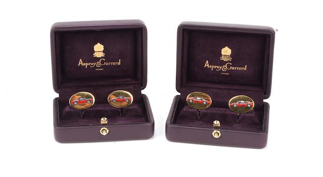 Two cased pairs of Ferrari F355 and Ferrari 246 GT 18ct gold cuff-links by Asprey,   ((2))