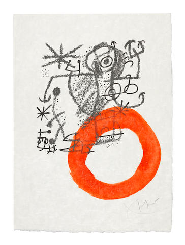 Joan Miró (Spanish, 1893-1983) One Plate, from Les Essencies de la Terra  Lithograph with hand-colouring, 1968, on Japan nacré paper, signed in pencil, one of eight colour variants with hand-colouring aside from the edition of 100, printed by Mourlot, Paris, published by Poligrafa, Barcelona, the full sheet, in good conditionSheet 495 x 360mm.