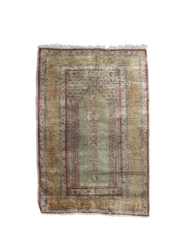 A Turkish silk prayer rug 93cm x 137cm
