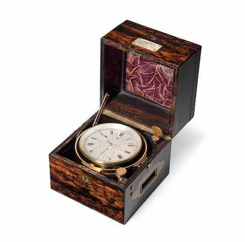 A fine and rare mid 19th century coromandel cased eight day duration marine chronometer  John Poole, Maker to the Admiralty, 57 Fenchurch St. London, no 4253