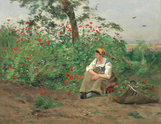 Hippolyte Camille Delpy (French, 1842-1910) Among the poppies