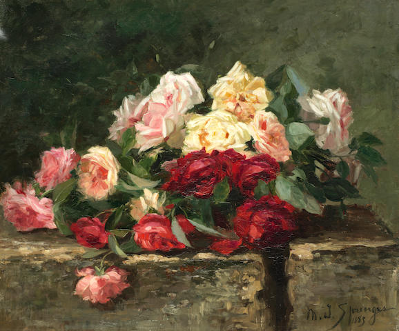 Maurice Isabelle Sprenger (French 19th Century) Still life of roses