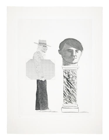 David Hockney (British, born 1937) The Student: Homage to Picasso Etching and aquatint, 1973, on wove paper, signed, dated and numbered 4/90 in pencil, printed by Atelier Crommelynk, Paris, published by Propylaen Verlag, Berlin, the full sheet, in good conditionPlate 575 x 440mm., Sheet 755 x 565mm.