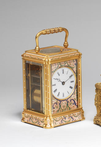 A fine mid 19th century French polychrome enamel mid-sized gorge-cased bell-striking carriage clock Numbered 5760