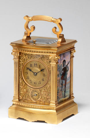 A small late 19th century French petite sonnerie enamel panelled carriage clock  Marsus & Co, New York