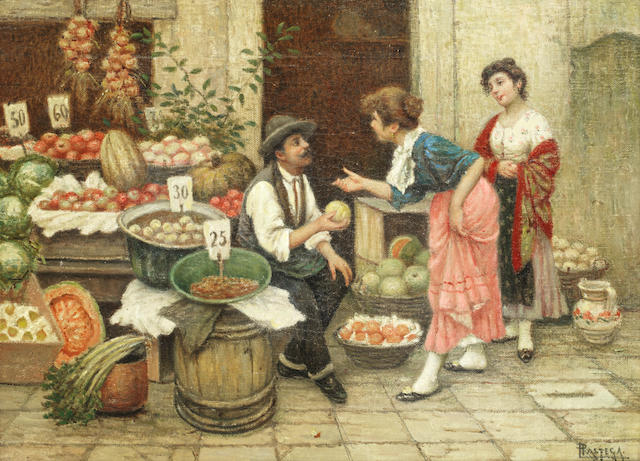 Luigi Pastega (Italian, 1858-1927) The fruit seller