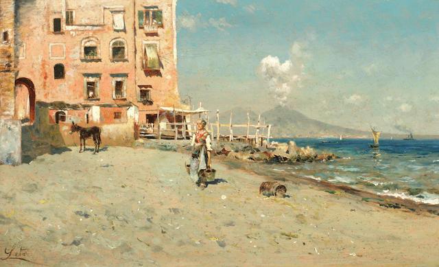 Antonino Leto (Italian, 1844-1913) View of the Neapolitan coast