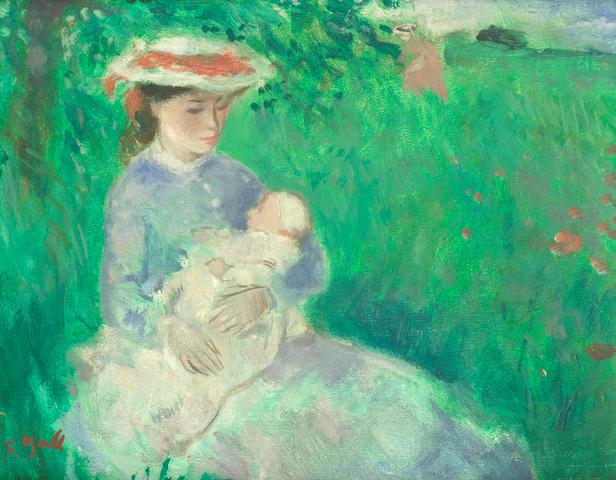François Gall (French, 1912-1987) Eugénie et son bébé dans une prairie normandeEugénie et Marie-Lize au Lac de Vincennes - Paris. 22.3 x 27.3cm (8 3/4 x 10 3/4in) and 19 x 24.2cm (7 1/2 x 9 1/2in).(2)