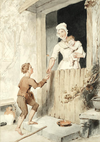Victoria, Queen of the United Kingdom of Great Britain and Ireland (British, 1819-1901), after Richard Westall A beggar boy at a cottage door (The work is accompanied by a letter relating to the provenance, signed by Princess Louise and bearing a royal crest.)