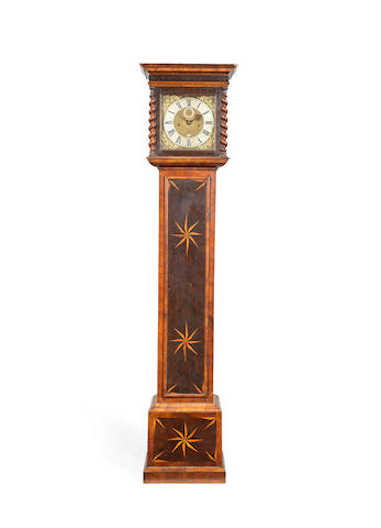 A good late 17th century 10 inch dial and movement with bolt and shutter maintaining power in an associated and possibly later inlaid olivewood and walnut longcase  Daniel Quare, London