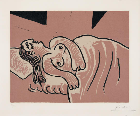 Pablo Picasso (Spanish, 1881-1973) Femme Endormie Linocut printed in colours, 1962, on Arches wove paper, signed and numbered 42/50 in pencil, printed by Arnéra, Vallauris, published by Louise Leiris, Paris, the full sheet, with a deckle edge at right, in good conditionBlock 270 x 350mm., Sheet 443 x 626mm.