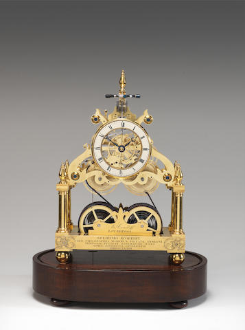An historic skeleton clock made for, and presented to, William Scoresby in 1833. James Condliff, Liverpool